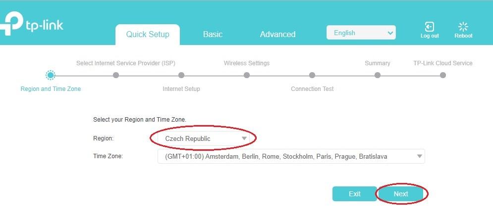 Výběr regionu u modemů TP-Link