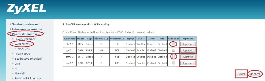 Úprava WAN služeb modemu Zyxel VMG1312-B30B