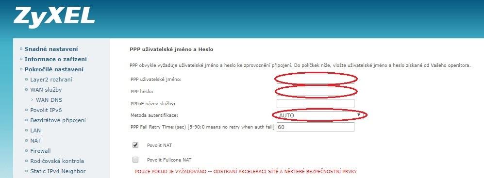 Vložení PPP údajů do modemu Zyxel VMG1312-B30B